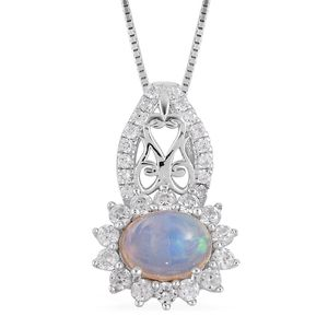 Ethiopian Welo Opal, White Zircon Sterling Silver Pendant With Chain (18 in) TGW 1.75 cts.