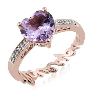 GP Rose De France Amethyst, Multi Gemstone Vermeil RG Over Sterling Silver Love Theme Ring (Size 8.0) TGW 3.07 cts.