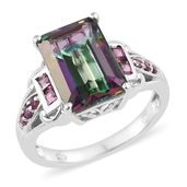Northern Lights Mystic Topaz, Purple Garnet Platinum Over Sterling Silver Ring (Size 10.0) TGW 9.55 cts.