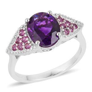 Lusaka Amethyst, Orissa Rhodolite Garnet Sterling Silver Ring (Size 8.0) TGW 3.77 cts.