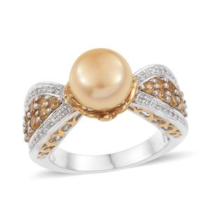South Sea Pearl (11.5-12 mm), Multi Gemstone 14K YG and Platinum Over Sterling Silver Royal Ring (Size 10.0) TGW 1.05 cts.