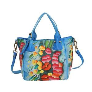 SUKRITI - Navy Blue Poppy Flower Hand Painted Leather Satchel Bag (14x4.5x9 in)