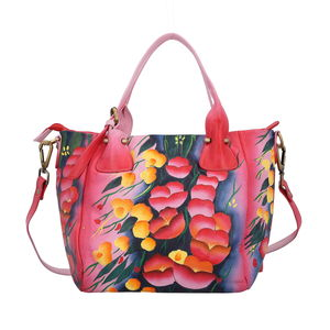 SUKRITI - Fuchsia Poppy Flower Hand Painted Leather Satchel Bag (14x4.5x9 in)