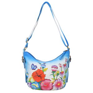 SUKRITI - Royal Blue Garden Hand Painted Genuine Leather Bucket Bag with Standing Studs (13x4.5x10 in)