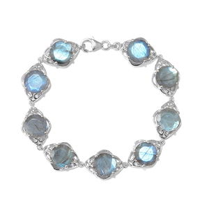 Malagasy Labradorite Platinum Over Sterling Silver Bracelet (7.50 In) TGW 31.65 cts.