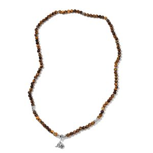 Kevin's Presidential Deal His and Hers South African Tigers Eye, Resin Silvertone Elephant Necklace (35 in) TGW 460.00 cts.