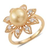 South Sea Golden Pearl (10.5-11 mm), Cambodian Zircon Vermeil YG Over Sterling Silver Flower Ring (Size 6.0) TGW 0.80 cts.