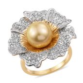 South Sea Golden Pearl (10.5-11 mm), Cambodian Zircon Vermeil YG Over Sterling Silver Flower Statement Ring (Size 7.0) TGW 1.25 cts.