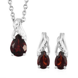 Mozambique Garnet Sterling Silver Earrings and Pendant With Stainless Steel Chain (20 in) TGW 2.25 cts.