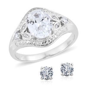 KARIS Collection - Simulated Diamond Platinum Bond Brass Stud Earrings and Ring (Size 8) TGW 5.30 cts.