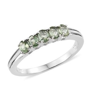 Green Sapphire Platinum Over Sterling Silver 5 Stone Ring (Size 5.0) TGW 1.15 cts.