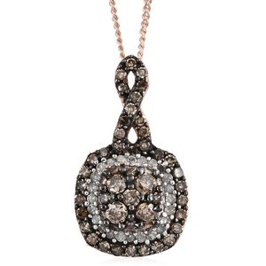 Natural Champagne Diamond, Diamond Black Rhodium & Vermeil RG Over Sterling Silver Pendant With Chain (20 in) TDiaWt 0.51 cts, TGW 0.51 cts.