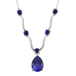 Playa Quartz, Lapis Lazuli Platinum Over Sterling Silver Necklace (18 in) TGW 11.35 cts.