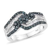 Blue Diamond (IR), Diamond Blue Rhodium & Platinum Over Sterling Silver Ring (Size 6.0) TDiaWt 1.00 cts, TGW 1.00 cts.
