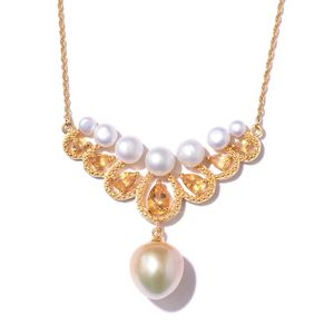 South Sea Pearl (11-11.5 mm), Multi Gemstone Vermeil YG Over Sterling Silver Princess Drop Necklace (18 in) TGW 2.19 cts.