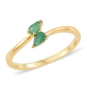 Brazilian Emerald Vermeil YG Over Sterling Silver Bypass Ring (Size 5.0) TGW 0.40 cts.