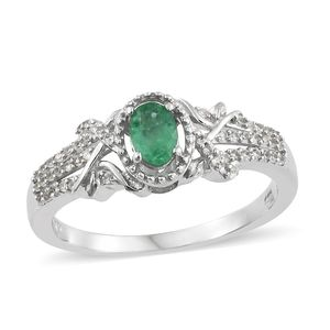 Brazilian Emerald, Cambodian Zircon Platinum Over Sterling Silver Ring (Size 7.0) TGW 0.65 cts.