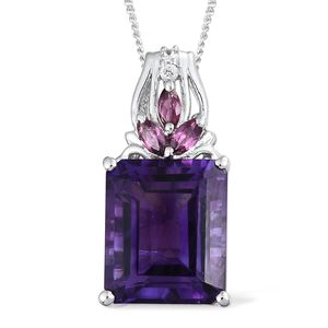 Lusaka Amethyst, Multi Gemstone Platinum Over Sterling Silver Pendant With Chain (20 in) TGW 6.21 cts.