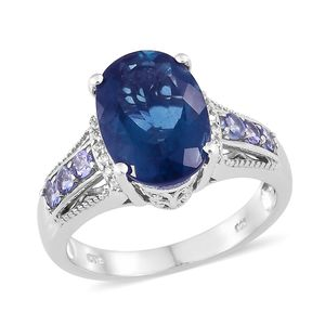 Dan's Collector Deal Blue Fluorite, Multi Gemstone Platinum Over Sterling Silver Ring (Size 8.0) TGW 7.10 cts.