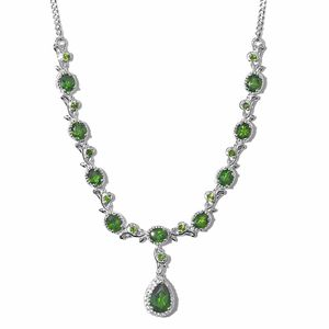 Russian Diopside, Cambodian Zircon Platinum Over Sterling Silver Princess Drop Necklace (18-20 in) TGW 5.92 cts.