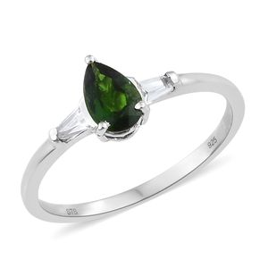 Russian Diopside, White Topaz Platinum Over Sterling Silver Ring (Size 9.0) TGW 1.15 cts.
