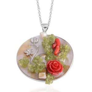 White Shell, Hebei Peridot, Chroma Silvertone Pendant With Chain (20 in) TGW 73.50 cts.