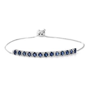 MEGA CLEARANCE Kanchanaburi Blue Sapphire, Cambodian Zircon Platinum Over Sterling Silver Bolo Bar Bracelet (Adjustable) TGW 3.24 cts.