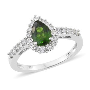 Russian Diopside, Cambodian Zircon Platinum Over Sterling Silver Ring (Size 10.0) TGW 2.10 cts.