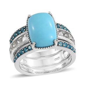 Arizona Sleeping Beauty Turquoise, Multi Gemstone Platinum Over Sterling Silver Stackable Ring (Size 6.0) TGW 7.70 cts.