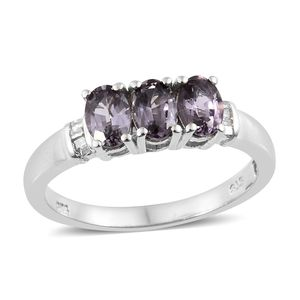 Burmese Lavender Spinel, Diamond Platinum Over Sterling Silver Ring (Size 5.0) TDiaWt 0.06 cts, TGW 1.68 cts.