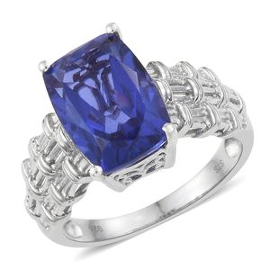 Playa Quartz Platinum Over Sterling Silver Woven Solitaire Ring (Size 7.0) TGW 7.25 cts.