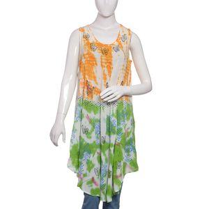 Green Tie & Die, Hand Block Printed Umbrella Dress (43x24 in, 100% Viscose)