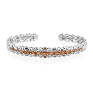 Orange Sapphire Platinum Over Sterling Silver Cuff (7.25 in) TGW 3.44 cts.