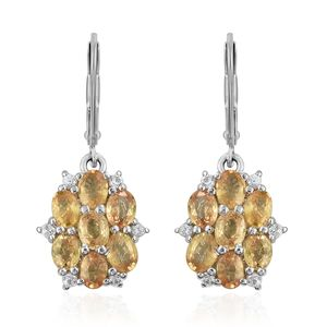 Yellow Sapphire, Cambodian Zircon Platinum Over Sterling Silver Lever Back Earrings TGW 3.60 cts.