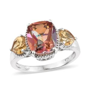 Northern Lights Ecstasy Topaz, Brazilian Citrine Platinum Over Sterling Silver Trilogy Ring (Size 6.0) TGW 7.85 cts.