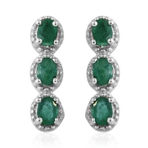 Brazilian Emerald Platinum Over Sterling Silver Earrings TGW 0.96 cts.