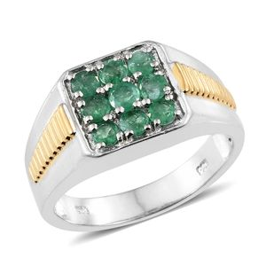 Brazilian Emerald 14K YG and Platinum Over Sterling Silver Men's Ring (Size 12.0) TGW 1.50 cts.