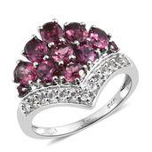 Orissa Rhodolite Garnet, White Topaz Platinum Over Sterling Silver Ring (Size 7.0) TGW 4.50 cts.