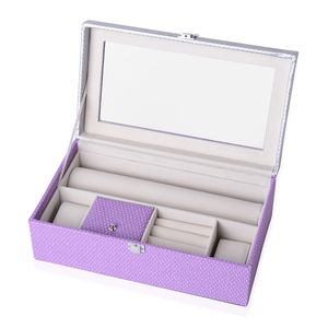Purple Faux Leather Glass Top Scratch Protection Interior Bedazzled Jewelry Box (12.5x4.5x7 in)