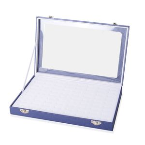 Navy Leatherette Paper Ring Box (72 Rings) (11.5x1.5x7 in)