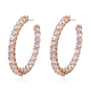 Simulated Diamond Goldtone Inside Out Hoop Earrings TGW 5.00 cts.