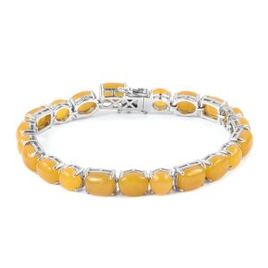 Burmese Honey Jade Sterling Silver Bracelet (7.50 In) TGW 50.75 cts.
