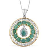 Brazilian Emerald, Cambodian Zircon 14K YG and Platinum Over Sterling Silver Pendant With Chain (20 in) TGW 2.48 cts.