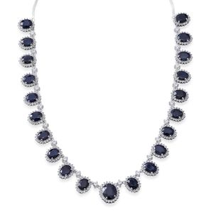 Madagascar Blue Sapphire, White Topaz Sterling Silver Necklace (18 in) TGW 70.77 cts.