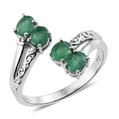 Brazilian Emerald Platinum Over Sterling Silver Open Bypass Ring (Size 7.0) TGW 1.35 cts.