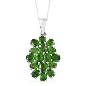 Russian Diopside Platinum Over Sterling Silver Pendant With Chain (20 in) TGW 3.46 cts.