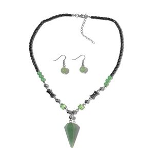Green Glass, Multi Gemstone Silvertone & Stainless Steel Earrings and Necklace (19 in) TGW 213.52 cts.