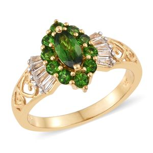 Russian Diopside, White Topaz Vermeil YG Over Sterling Silver Openwork Ring (Size 5.0) TGW 2.70 cts.