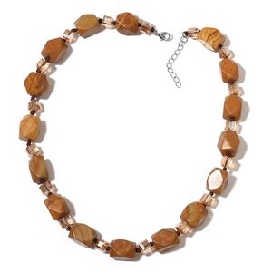 Picture Jasper, Simulated Citrine Silvertone Necklace (18-20 in) TGW 495.00 cts.