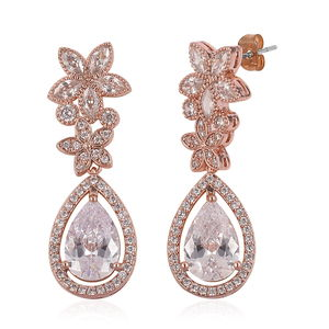 Simulated White Diamond Rosetone Earrings TGW 3.00 cts.